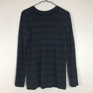 Lululemon black blue striped long sleeve shirt